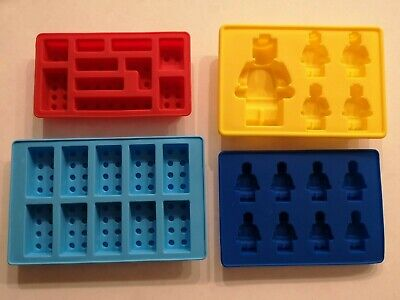 Lego inspired set of four brick and minifigure moulds - excellent condition