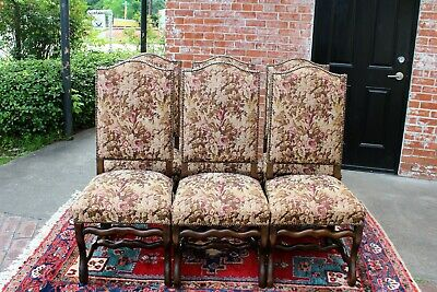 French Antique Upholstered Set Of 6 Louis XIV Dining Chairs