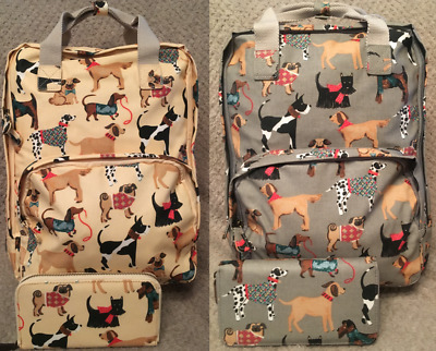 Grey and Cream Dog Print Bag with Matching Purse Laptop/Table Compartment - New!
