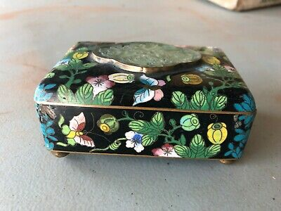Antique CHINESE Cloisonne Floral Butterfly Box w/ Lid and WHITE JADE CARVING