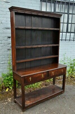 Lovely 18th century Antique Oak Cottage Pot Board Dresser with rack
