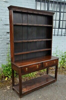Lovely Antique Oak Cottage Pot Board Dresser with rack