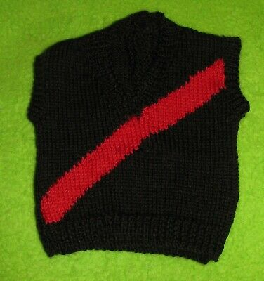 HAND KNITTED ESSENDON BOMBERS FOOTBALL BABY VEST 0-3 Months