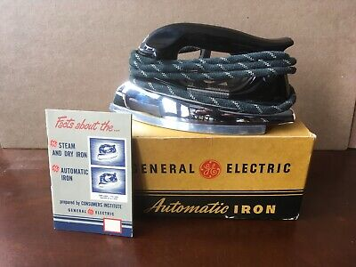 Vintage GE GENERAL ELECTRIC AUTOMATIC IRON No. 139F23 w/Box & Facts Booklet