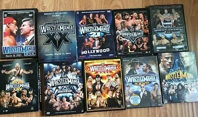 Lot of 10 WWE Wrestling Wrestlemania PPV DVD Video Box Sets 19-27, 29