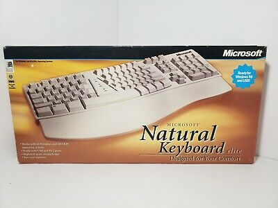 6507dfb615b Original Microsoft Desktop Ergonomic Natural Keyboard Elite Curved Wave  PS2/USB