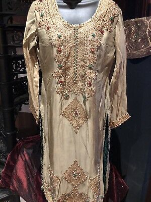 Hand Made Vintage Rhinestones Embroidered Taupe Green Chiffon Indian Dress