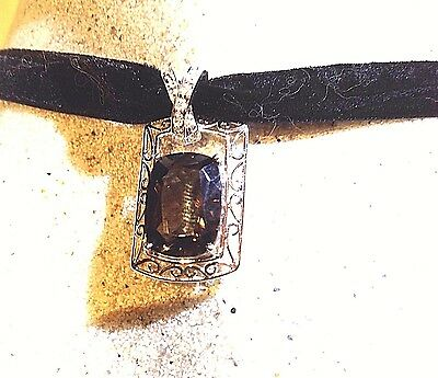Vintage Genuine Clear And Smoky Quartz 925 Sterling Silver Pendant Necklace