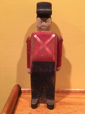 Vintage signed carved folk art soldier wolf creek beaman iowa wood hand painted