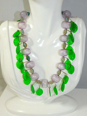 Chunky Vintage Fruit Salad Lavender Grape Green Leaf Plastic Bead Necklace 9h 32