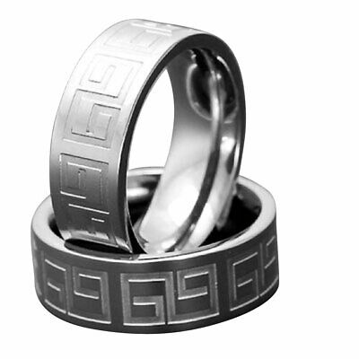 7mm Flat Top Greek Key Titanium Satin Polish Comfort Fit Men's Wedding Band