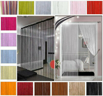 Plain String Curtains Patio Door Divider Fly Screen Windows Fringe Net 50x200cm