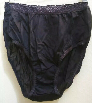 Womens Vintage Panties - Sissy Brief Look With Lace Waist- Size 6 - 100% Nylon