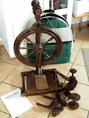 Reisespinnrad spinning wheel Kromski Sonata in Walnuss  Doppeltritt  top Zustand