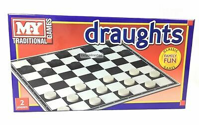1 X Traditional Classic DRAUGHTS Full Size Family Fun Children Kids Board Games