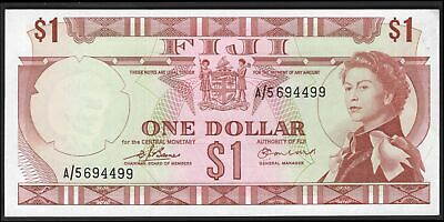 Fiji: Government Of Fiji. 1 dollar. (1974). Barnes-Earland. A/5 694499. (Pick...