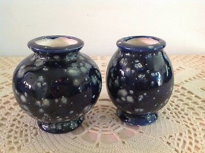 2 x SMALL VINTAGE POTTERY VASES SIGNED PL 52.