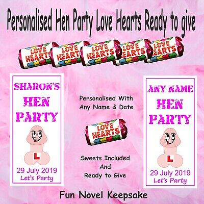 10 Personalised Hen Night Party Mini Love Hearts Sweets favours gift bag filler