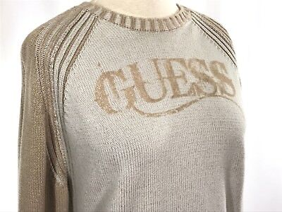 Vintage GUESS Ribbed Pullover Sweater Jumper - Spellout Natural - sz Large | VTG