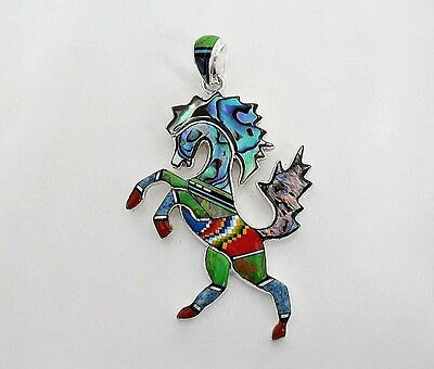 Nice Handcrafted Horse Pendant In Turquoise/Multicolor Inlay In .925 Silver