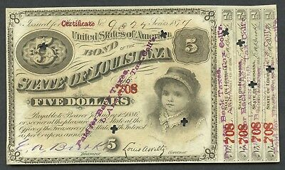 Us State Of Louisiana Bond Of Five Dollars January 1, 1886 W/ Coupons As Shown