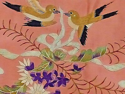 Rare!!! Stunning!!! Antique French Pink Silk Hand Embroidered Bed Canopy