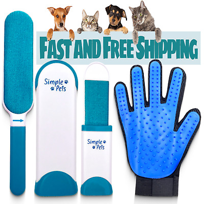 Fur Pet Hair & Lint Remover Brush & Grooming Glove Mitt Deshedder Hair Removal