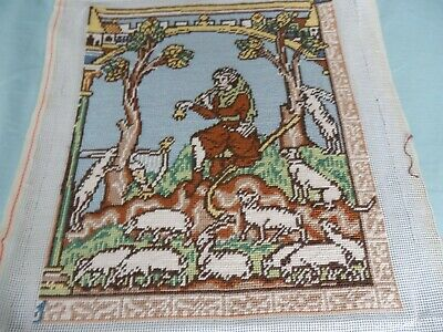 Completed tapestry - Medieval Shepherd with sheep