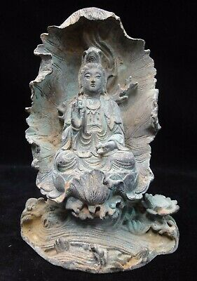 "Old Chinese Bronze ""GuanYin"" Buddha Seated Lotus Statue Good Patinas"
