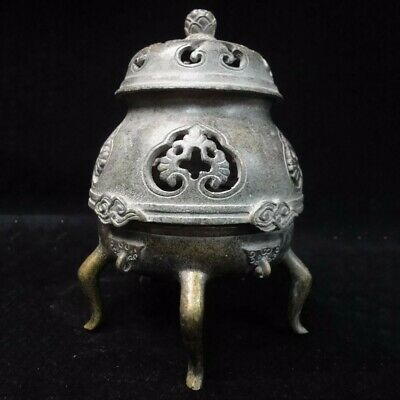 Rare Old Chinese Bronze Incense Burner Three Feet Cover Censer Mark