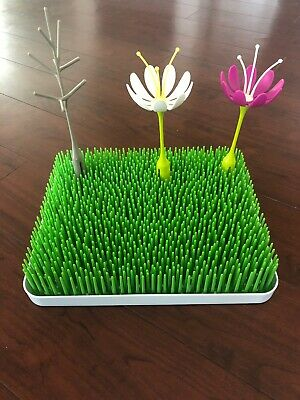 Boon Lawn Countertop Drying Rack - Green With 2 Flowers And Twig