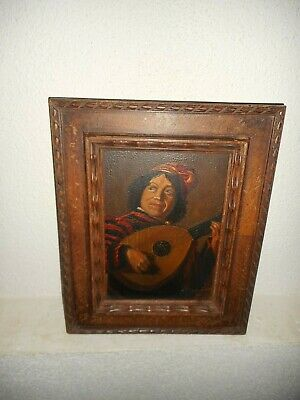 19th Century oil painting,{The Lute player, painted after Frans Hals, is signed}