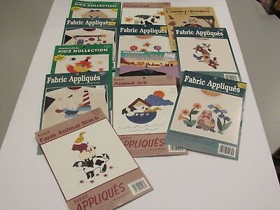 Lot of 12 Vintage Fabric Appliques Variety Kidz Country Borders Animals Iron NOS
