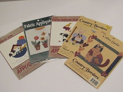 Lot of 5 Vtg Fabric Appliques Variety Animal Ark Country Borders New Old Stock