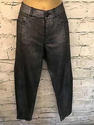 f0ed66b7042 French Connection Jeans Ladies Silver Black Snakeskin Skin Tight Jeans Size  10