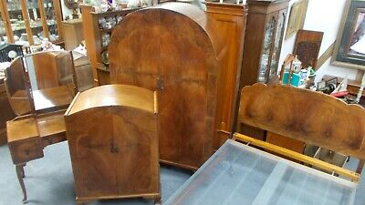 Art Deco Carved Walnut Bedroom Suite Tallboy Vono Bed Wardrobe Dressing Table