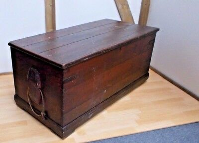 Antique Genuine Seaman's Sailors Pine Trunk Chest Coffee Table 19th Century