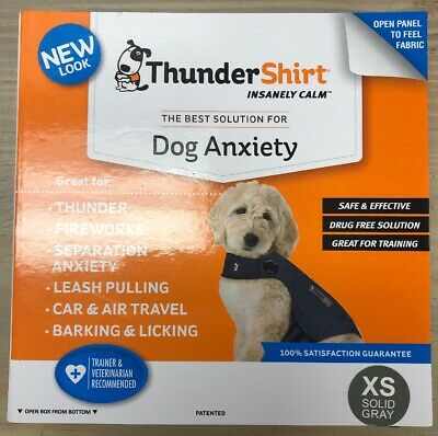 NEW ThunderShirt HGXS-T01 Classic Dog Anxiety Jacket XS Solid Grey FREE SHIPPING