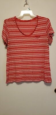 Faded glory- Lot of two striped tops Women's PLUS size 1X. Pink & blue