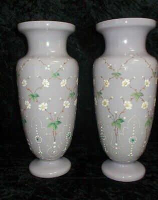Victorian Large Pair Bristol Glass Hand Painted Floral Embellish Vases 30.5 cms