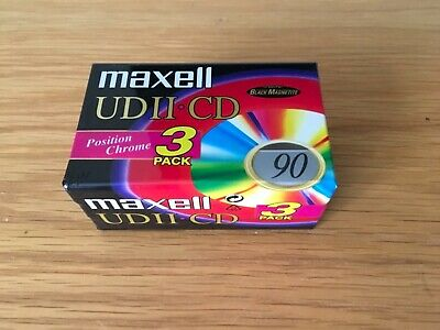 Maxell UDII-CD 90 Min Chrome Type II Audio Cassette - 3 Pack - New & Sealed