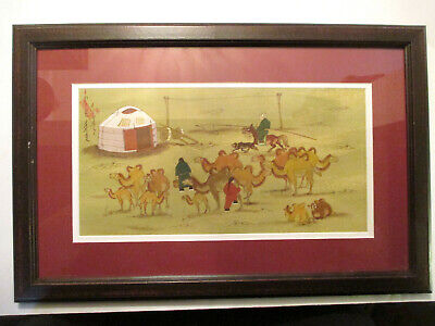 Antique / Vintage Asian Chinese  Men On Horses Watercolor Painting Signed