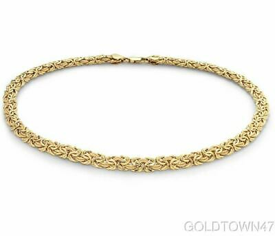14k Yellow Gold Solid Byzantine Necklace