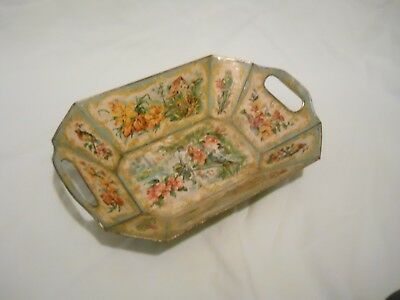 Antique tin bowl tray bread basket with romantic motif birds, flowers and houses