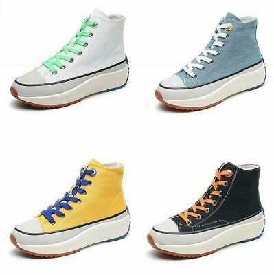 New Chic Women Lace Up Hi Top Canvas Sneakers Flat Platform Creeper Oxfords Punk