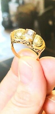 ANTIK RING 585 Gold, Brillant Diamant Solitär,Art Deco,Jugendstil 1900 Geschenk