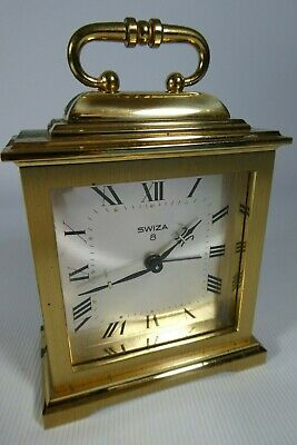 Old Vintage Clock SWIZA Swiss Made Brass Mechanical 8 Day Alarm Clock