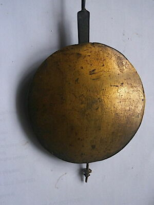 C1730 GOOD LONGCASE GRANDFATHER CLOCK PENDULUM  BRASS    faced bob + SLIDE ROD E