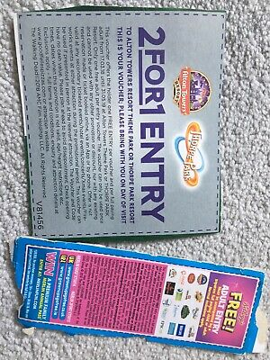 2x Vouchers 2 FOR 1 Entry ALTON TOWERS or THORPE PARK Tickets AND Merlin