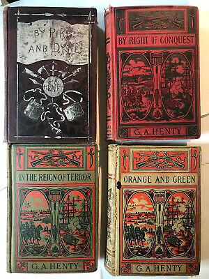G. A. Henty LOT of 4 vintage hardcover childrens adventure books 1900s Victorian